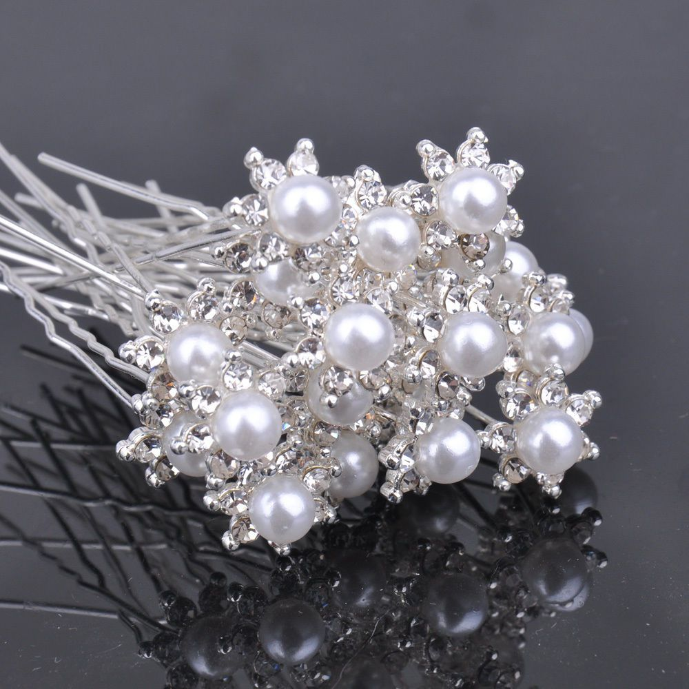details about 20x flower white pearl crystal rhinestone hair pin