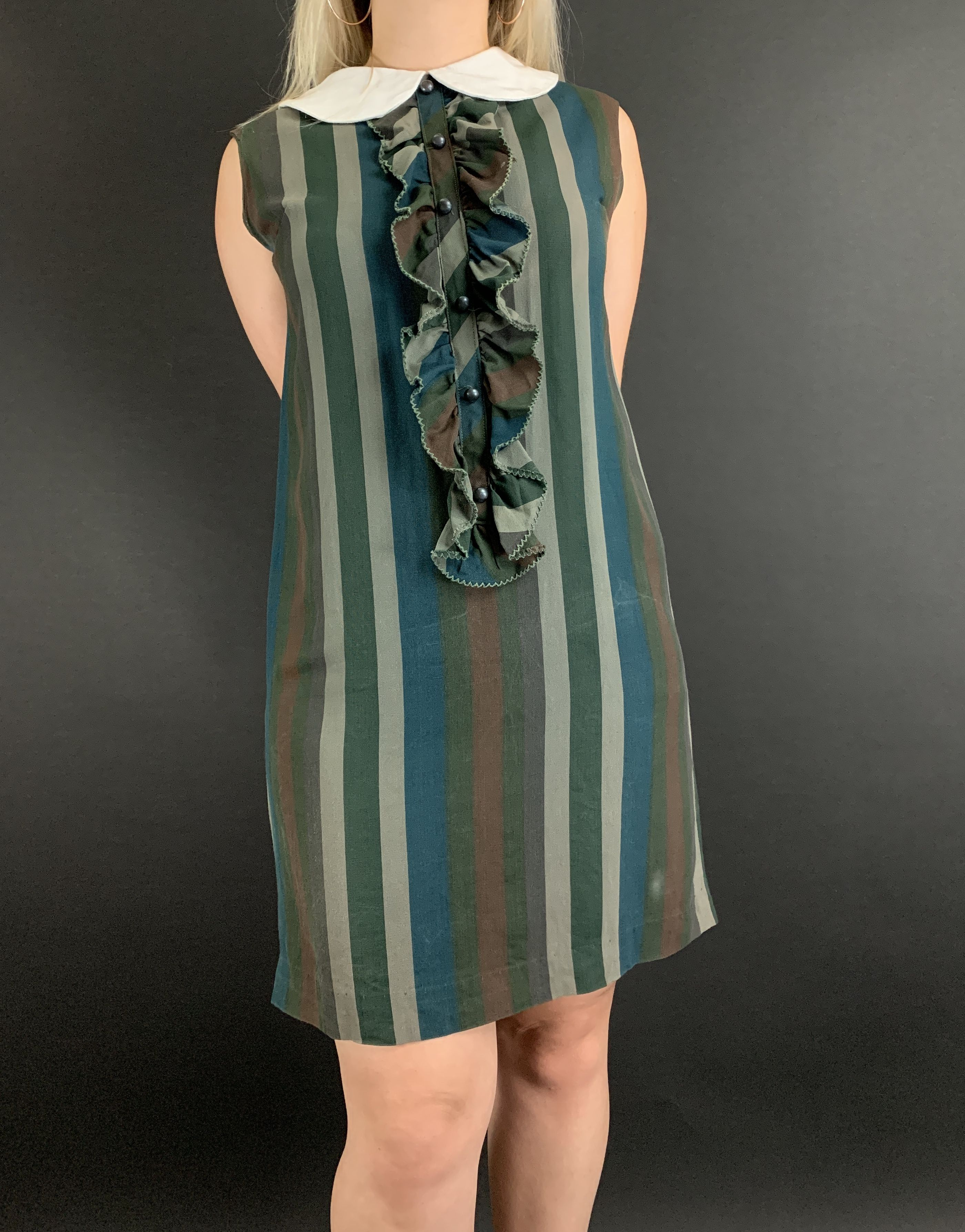 60s 70s Ruffled Peter Pan Collar Shift Dress Wildfirevintage Shift Dress Striped Shift Dress Dresses [ 3574 x 2800 Pixel ]