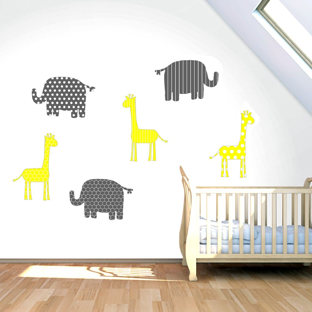 Giraffe elephant lion white gray printed pattern wall decals wall elephants giraffes pattern printed wall decals stickers amipublicfo Gallery