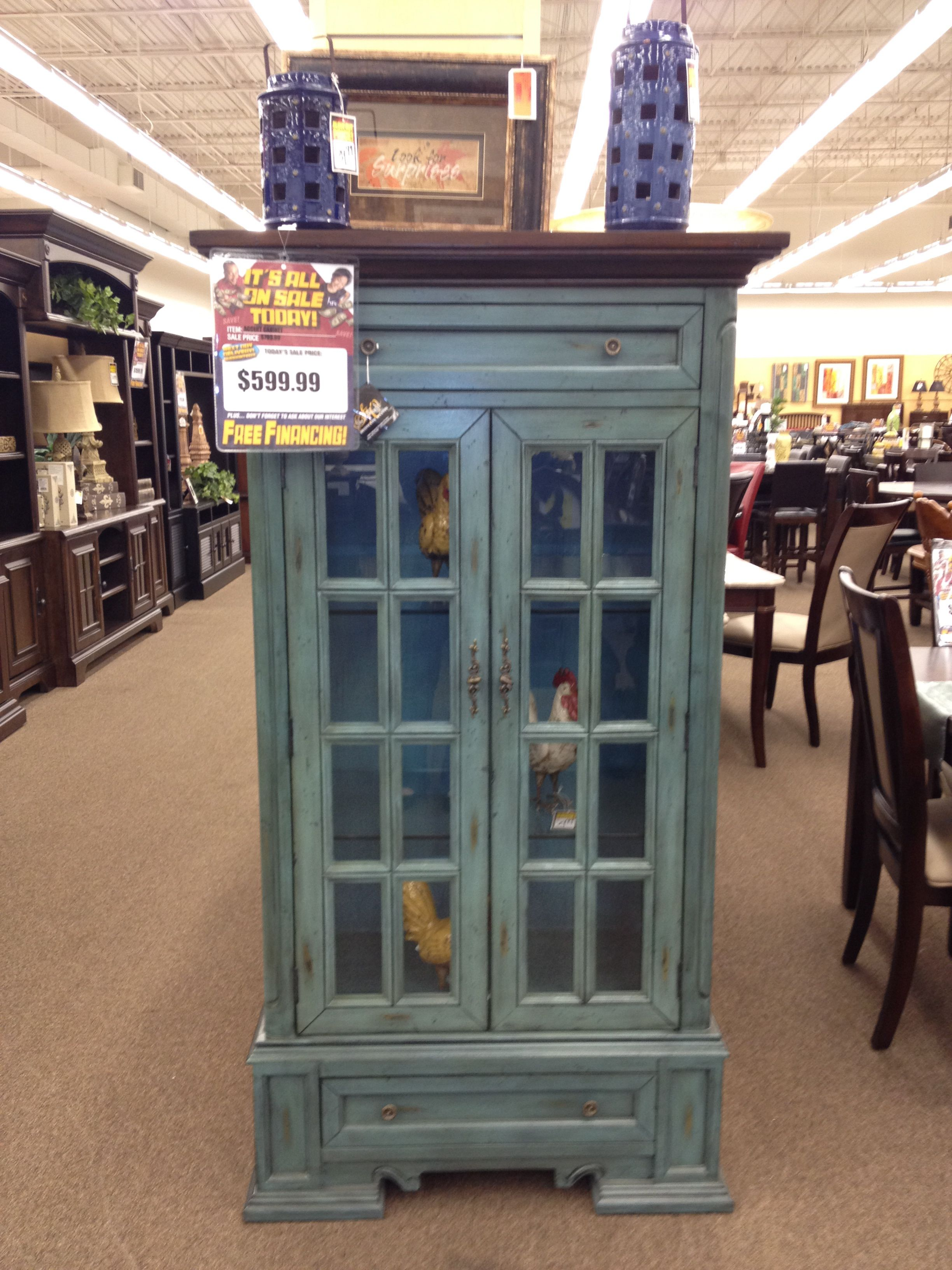 Beautiful Light Blue Rustic Accent Cabinet Would Look Great In A Kitchen Or Living E