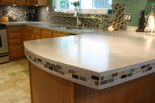 Grey Concrete Countertops With Tile Inlays Concrete Countertops