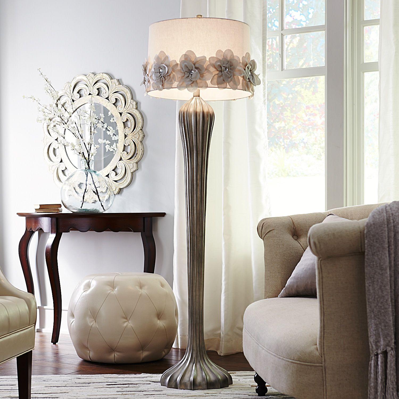 Hayworth Rosette Smoke Floor Lamp Home decor