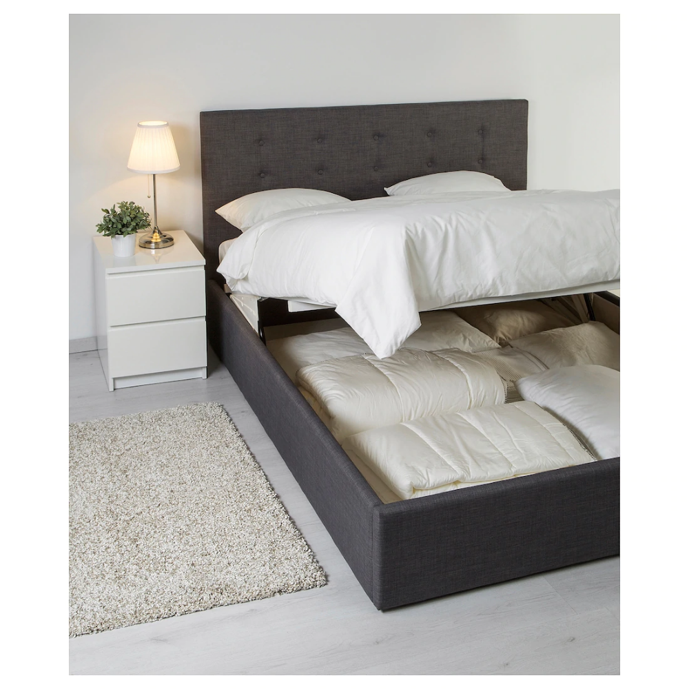 Gvarv Ottoman Bed Skiftebo Dark Grey Grey Standard Double