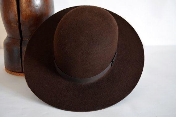 47490a4a558c7 Brown Tiller Hat - Wool Felt Round Crown Handmade Tiller Hat - Men Women