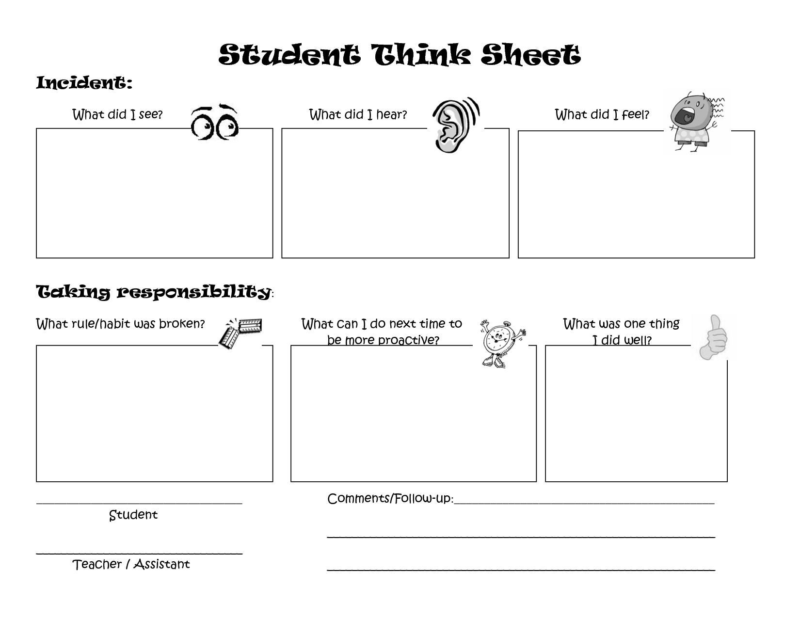 Thinking Sheet For Behaviour
