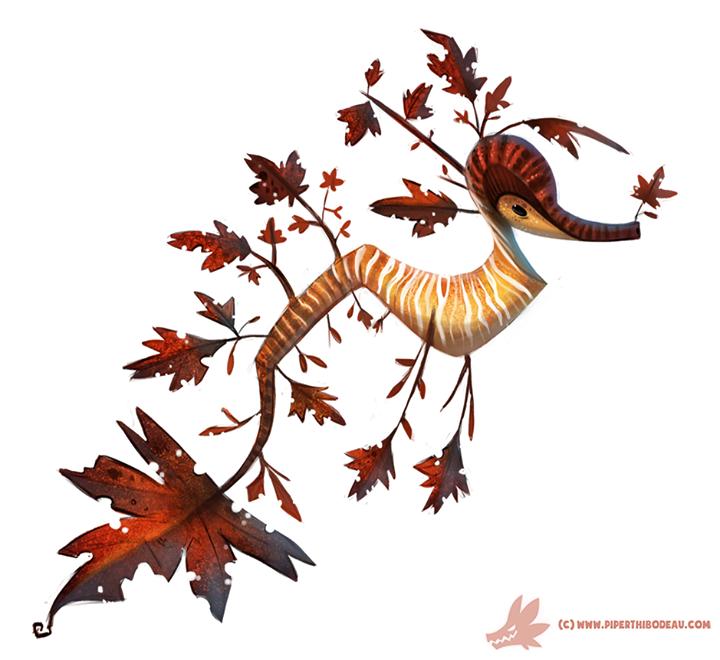 Hyppocampe Chimere Automne Art Of Piper Thibodeau Daily Paint 1024 Autumn Dragon Dragon De Mer Les Arts Dessin D Animal