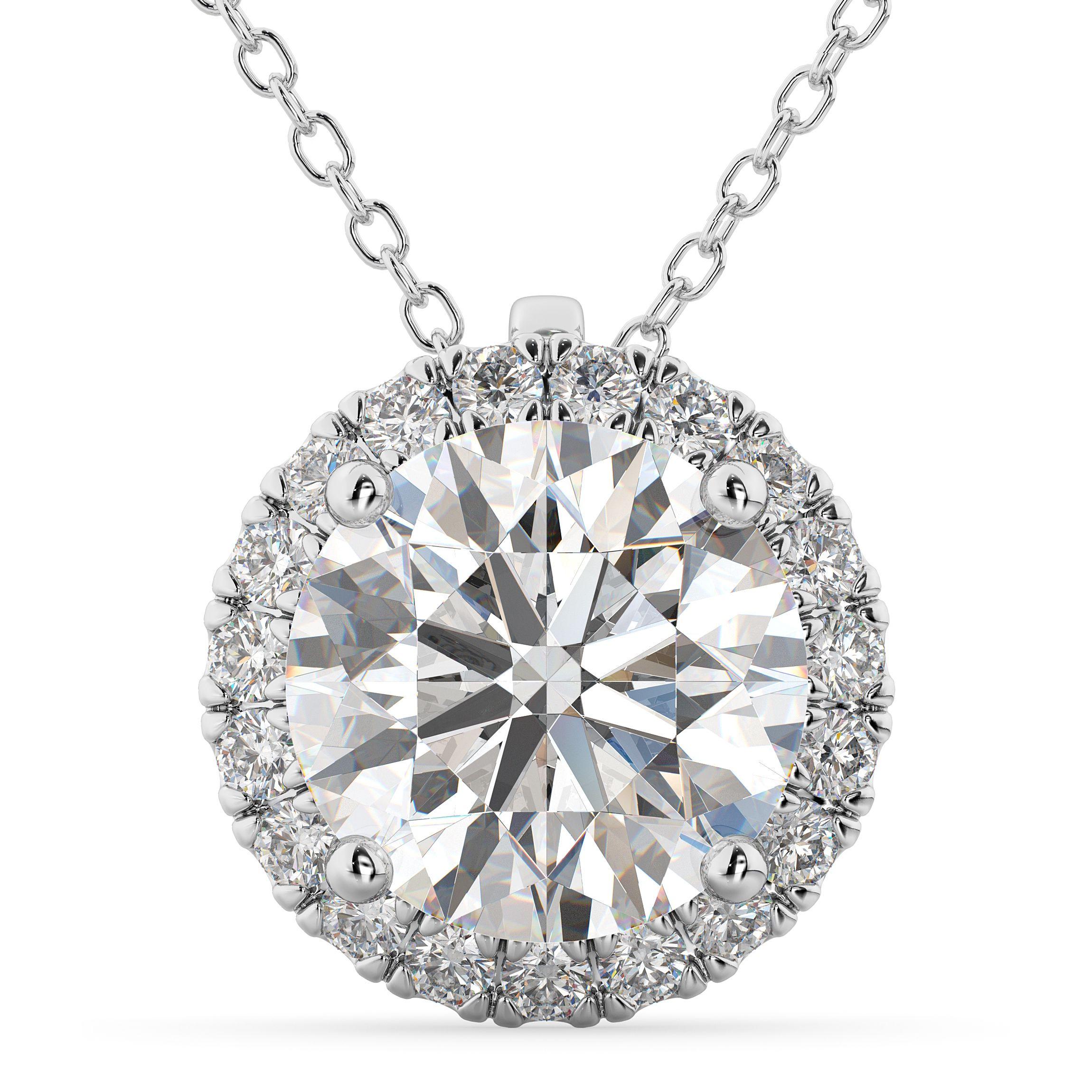 44b291ec68336 Halo Round Diamond Pendant Necklace 14k White Gold (2.29ct) | Drop ...