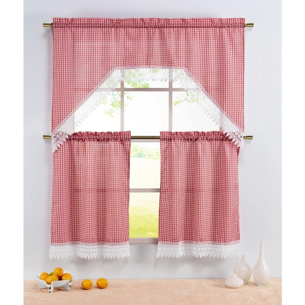 Window Elements Semi Opaque Checkered Red Embroidered 3 Piece