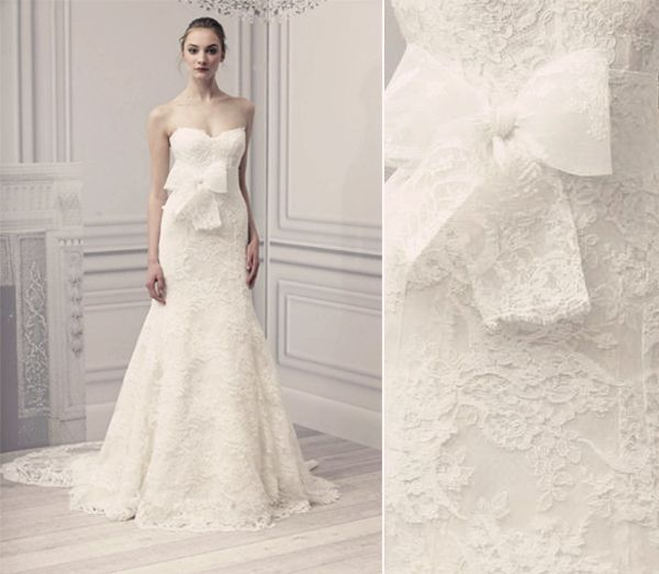 Chantilly Lace Overlay Wedding Gown By Monique Lhuillier