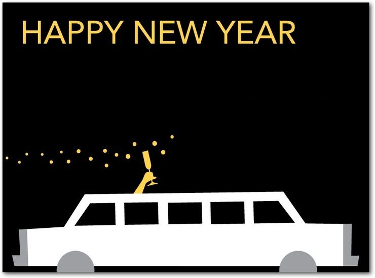 new years cards | Limo Toast New Years Card | Coloring