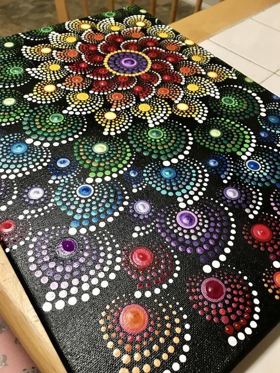 Rainbow mandala art