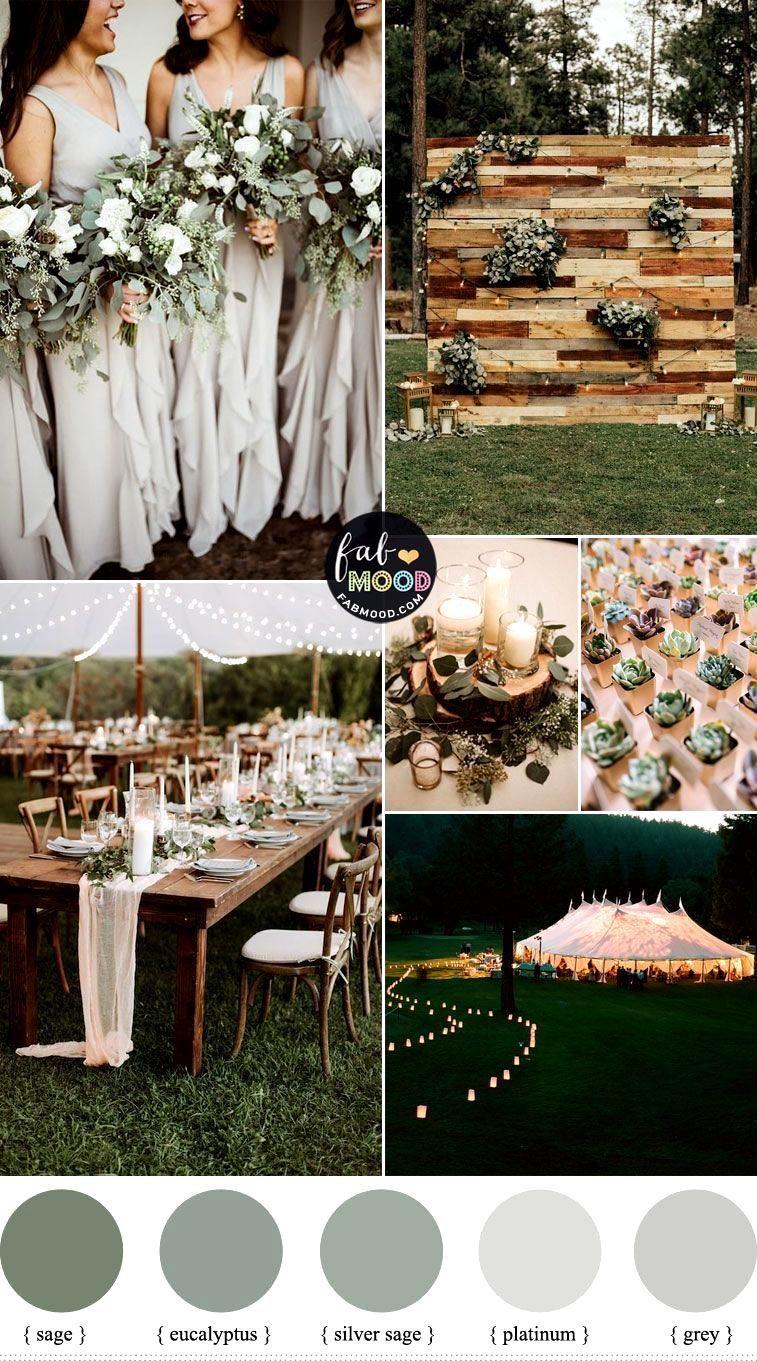 Eucalyptus vert sauge et palette de couleurs de mariage gris pour le mariage de printemps 1 - Fab