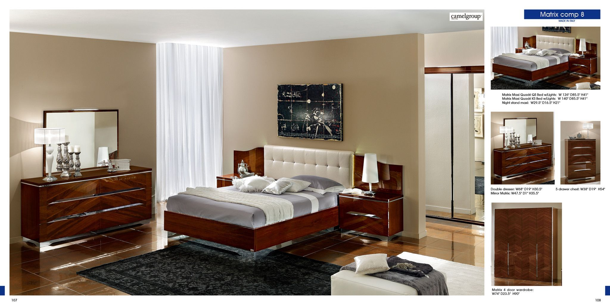 Master bedroom 5 door wardrobe designs for bedroom  Matrix Composition  with White headboard Camelgroup Italy
