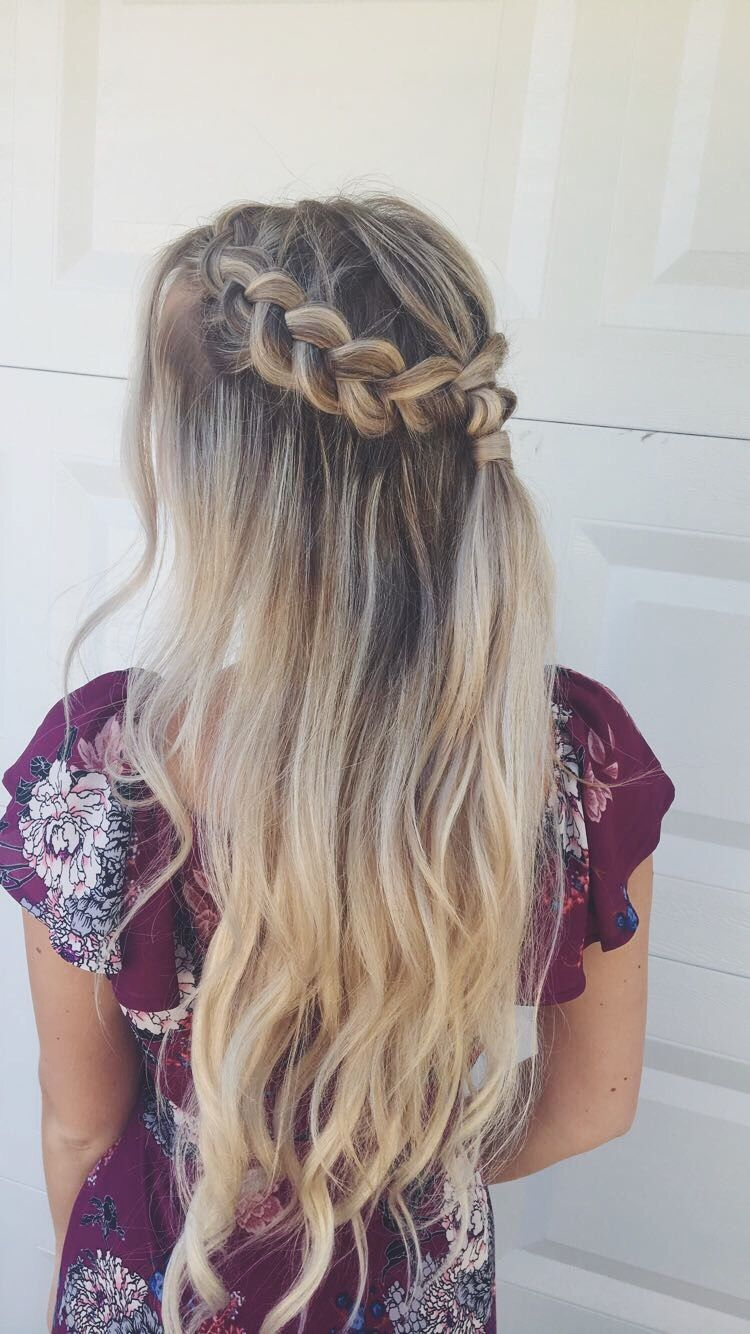 Reverse Braid Blonde Hair Halo Braid Hair Styles Curly Girl Hairstyles Cute Hairstyles