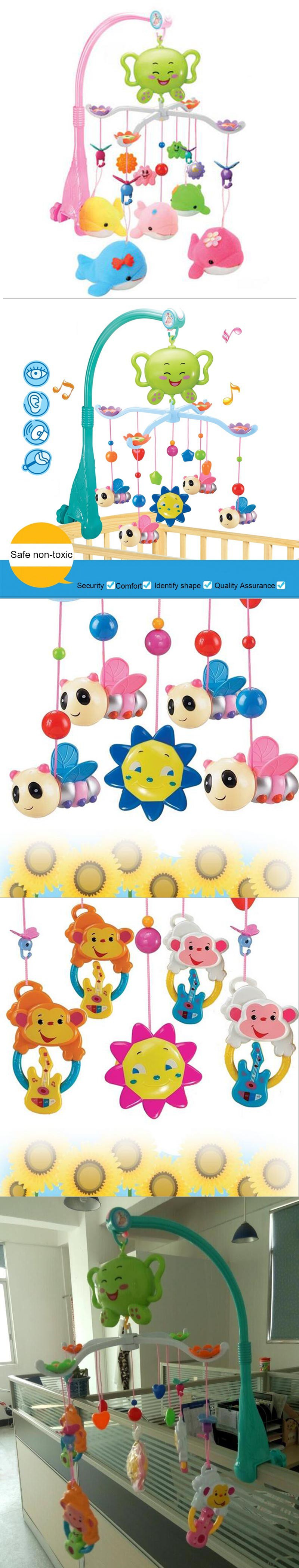 Baby bed holder - Baby Crib Musical Mobile Cot Bell With 12 Light Music Holder Arm Baby Bed Hanging Rattle