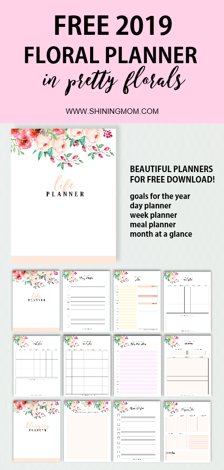 Free Monthly Calendar 2019 And Life Planner In Florals Home