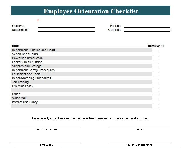 New employee orientation checklist template word and excel - monthly performance review template