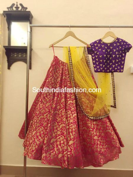 f5a182cf3ff0a Party Wear Lehengas and Crop Tops by Ashwini Reddy - South India Fashion