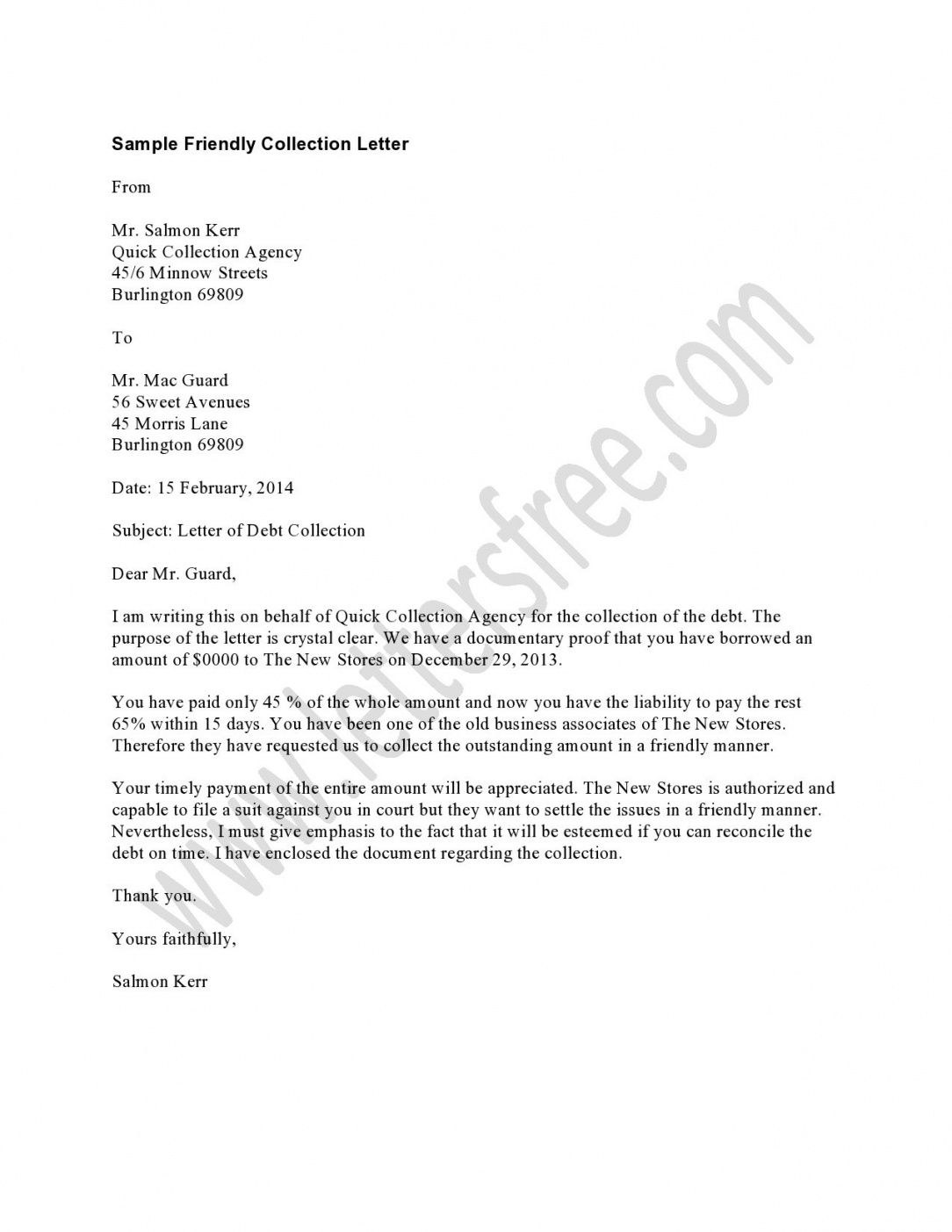 Friendly Collection Letter Template In 2020 Collection Letter
