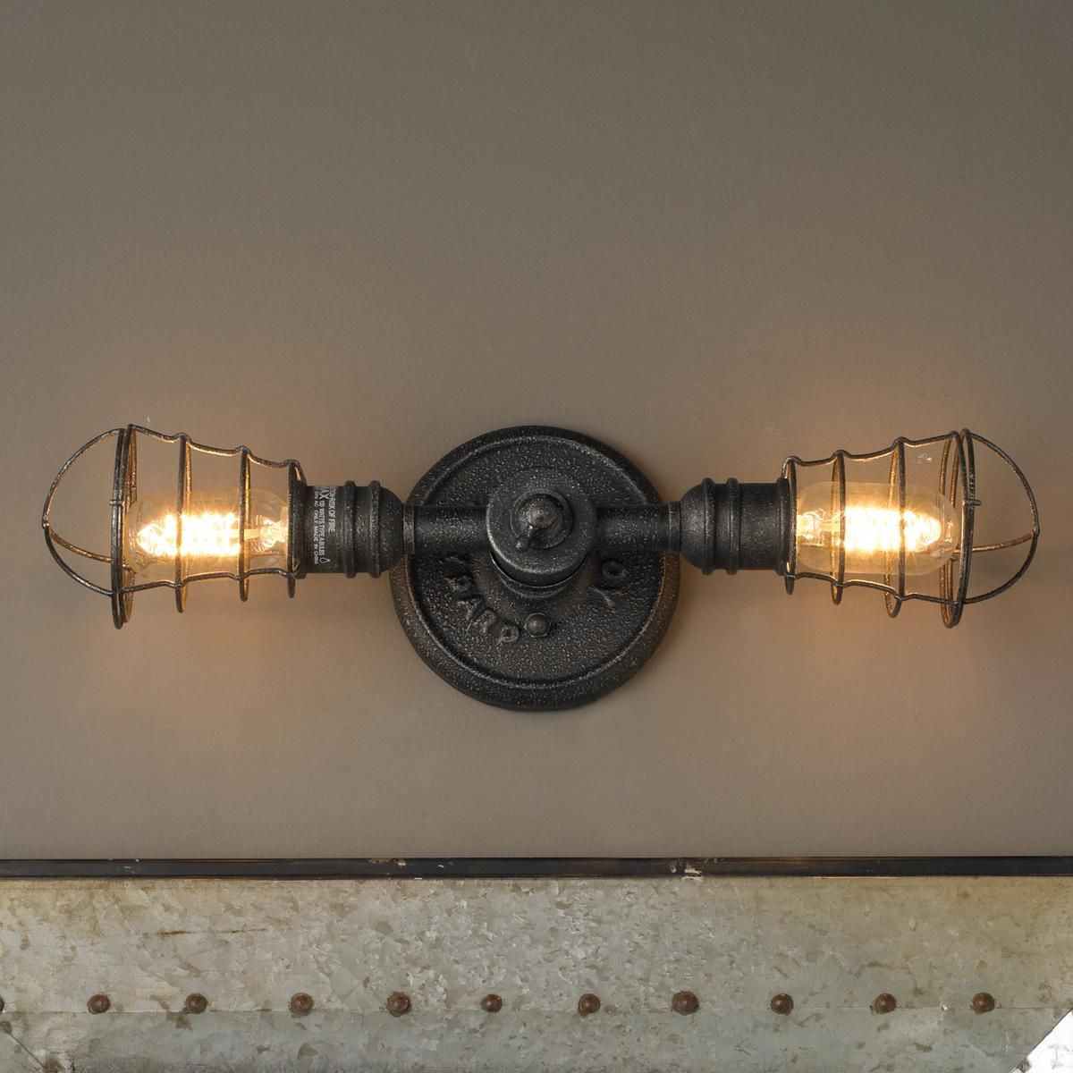 wall fixtures fixture house industrial light cage vanity bronze metal design rustic bathroom pin