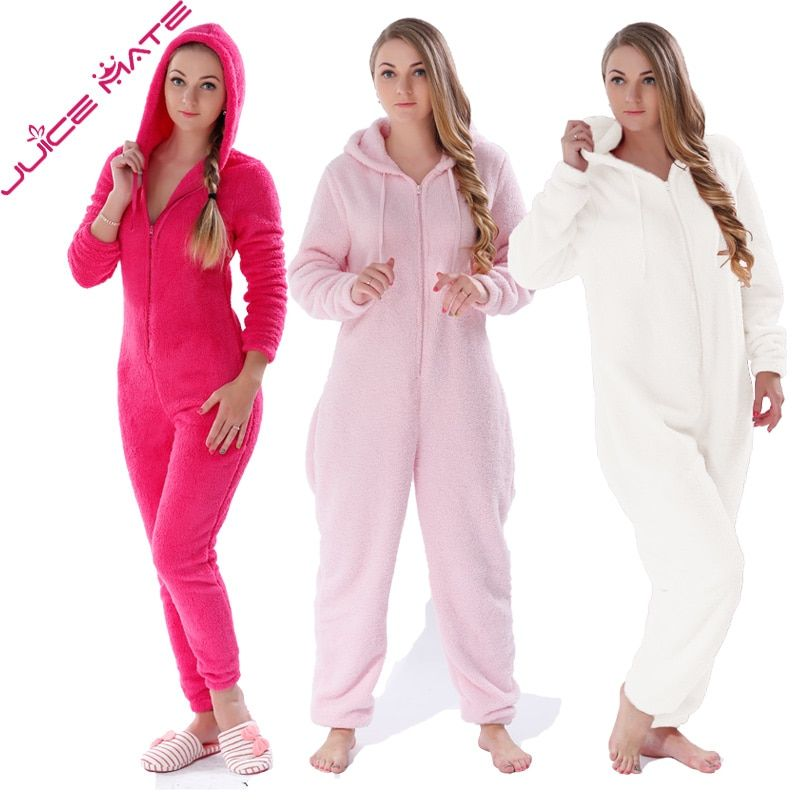3693b778863fda Winter Warm Pyjamas Women Onesies Fluffy Fleece Jumpsuits Sleepwear Overall  Plus Size Hood Sets Pajamas Onesie For Women Adult Price: 46.78 & FREE  Shipping ...