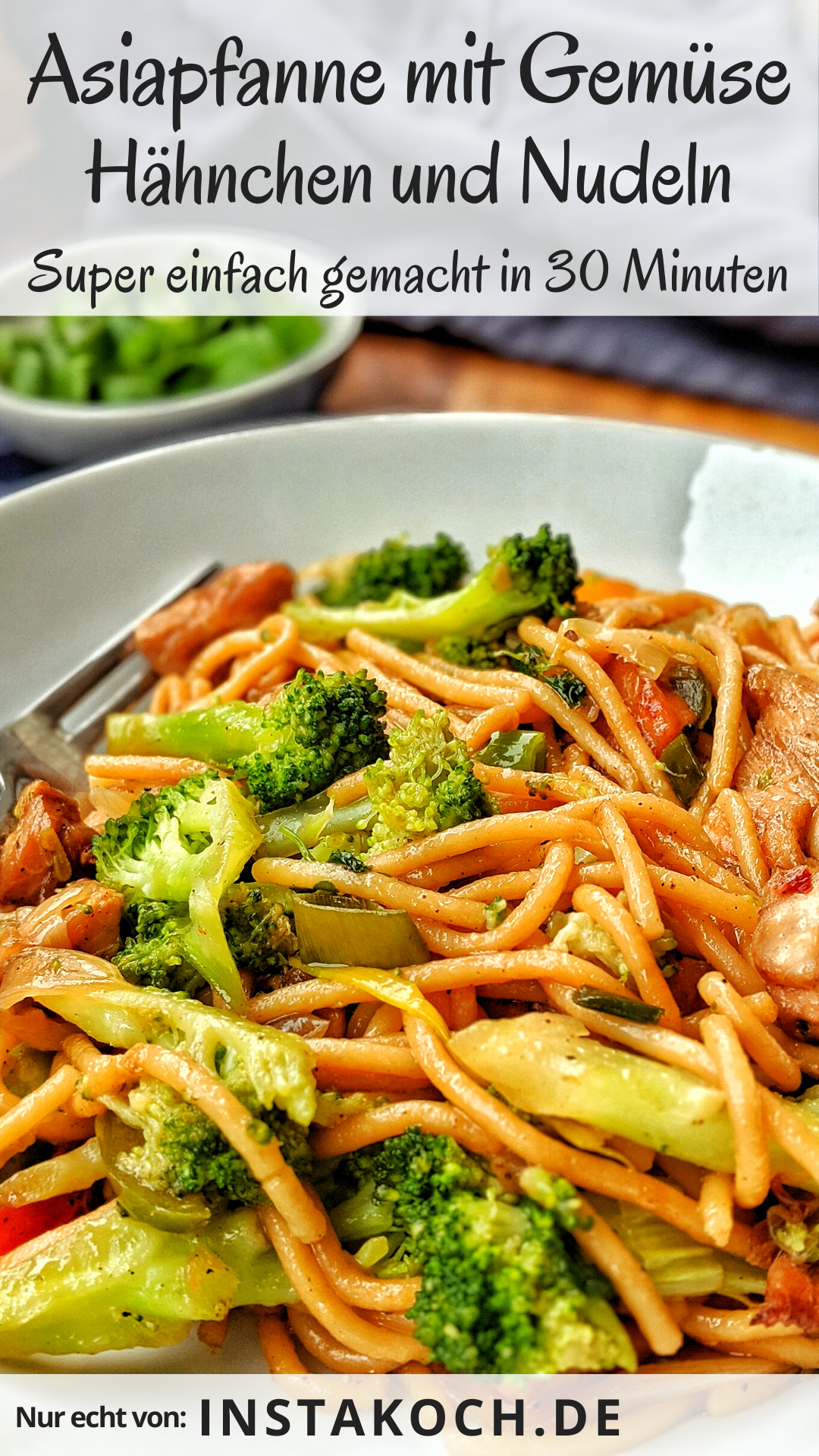 Photo of Fast Asian pan with noodles chicken and broccoli – cook delicious at home