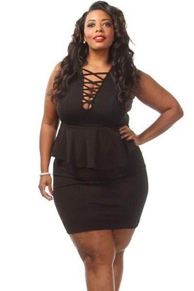 Black Crossed V Neck Sleeveless Big'n'Mod Peplum Dress