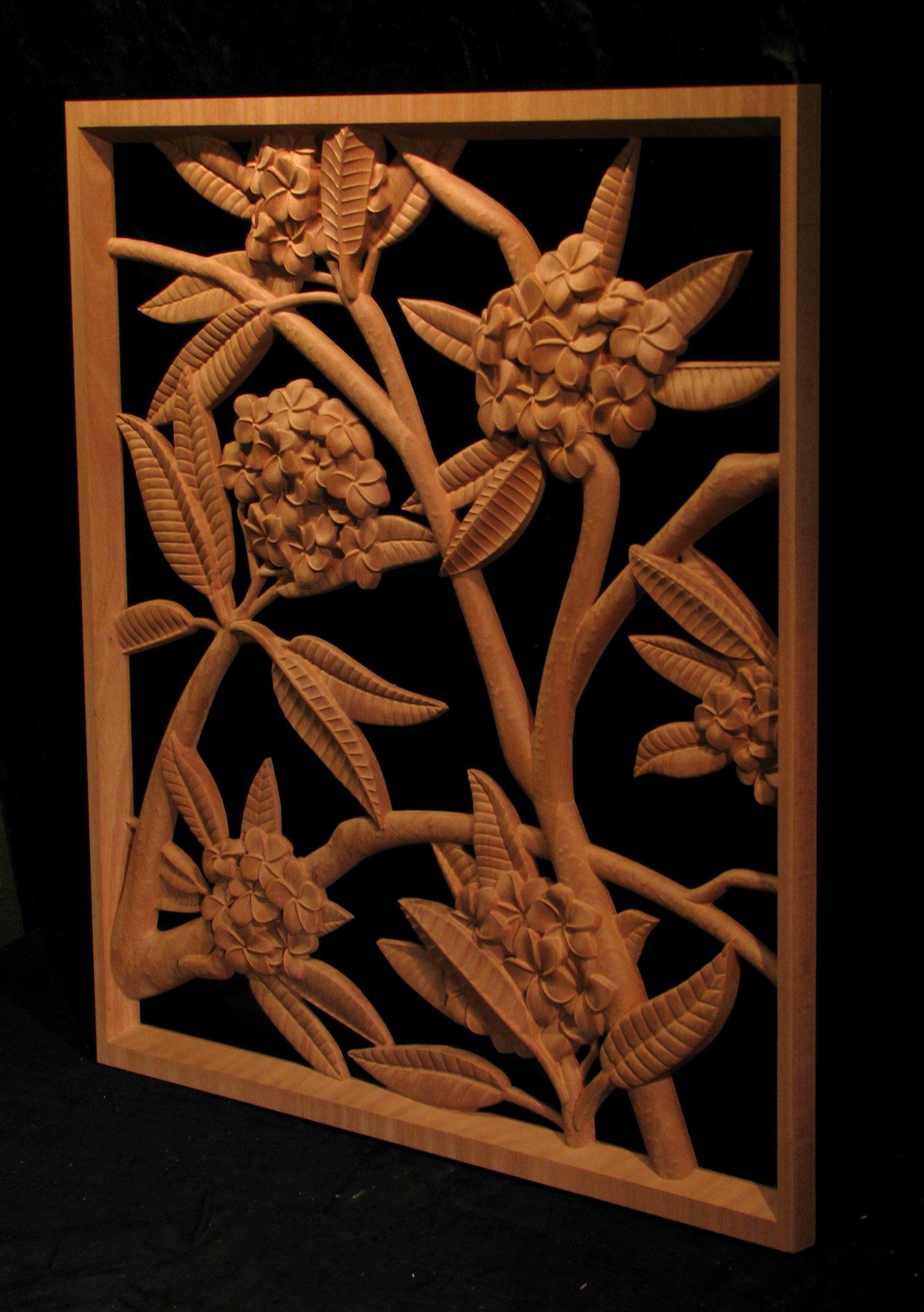 Carved wood panel - Plumeria panel