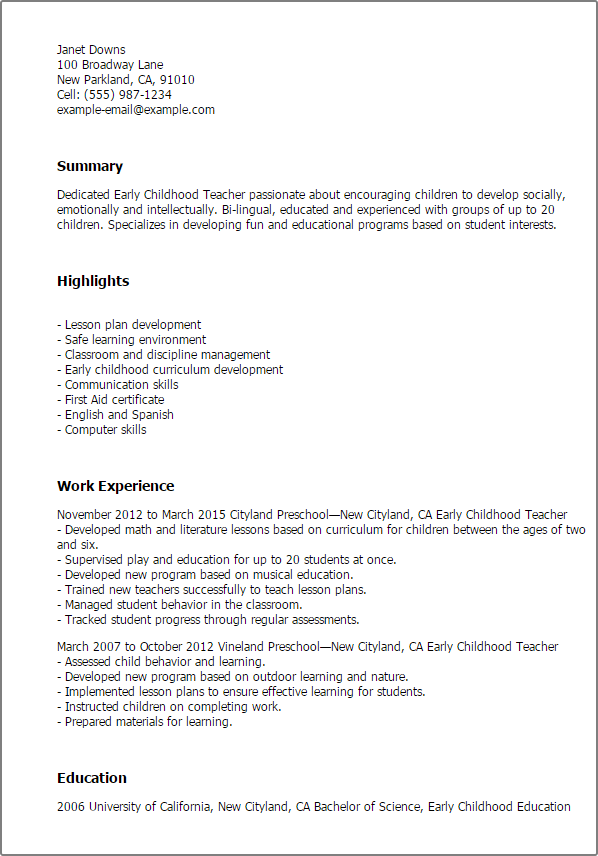 Resume Templates Early Childhood Teacher