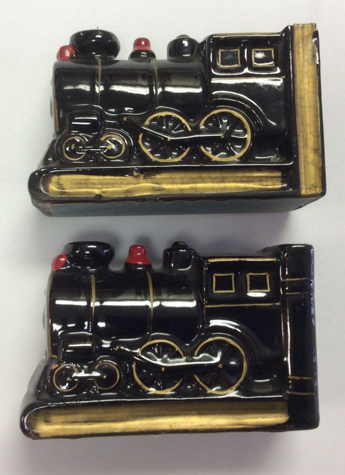 Vintage Japan Black Ceramic Train Locomotive Bookends Desk Set Of 2 Stop Brake Switch Ac Or Dc Wind Turbine Generator Marine Grade Ebay