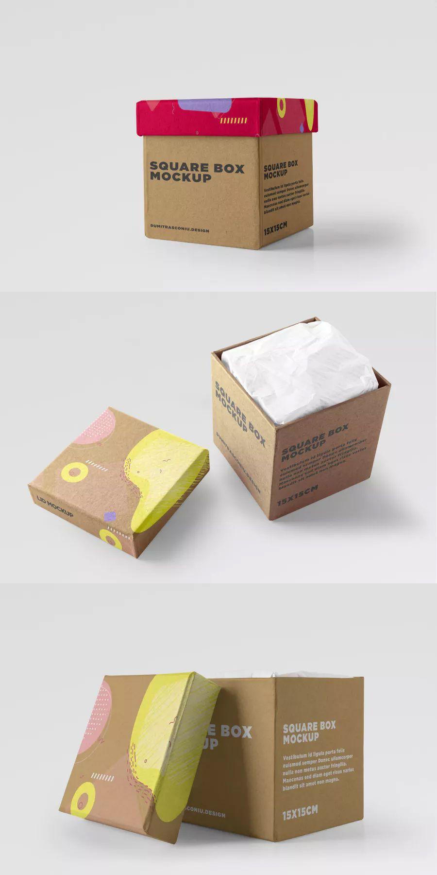 Download Kraft Cube Box Mockup Box Design Templates Box Packaging Design Kraft Box Packaging