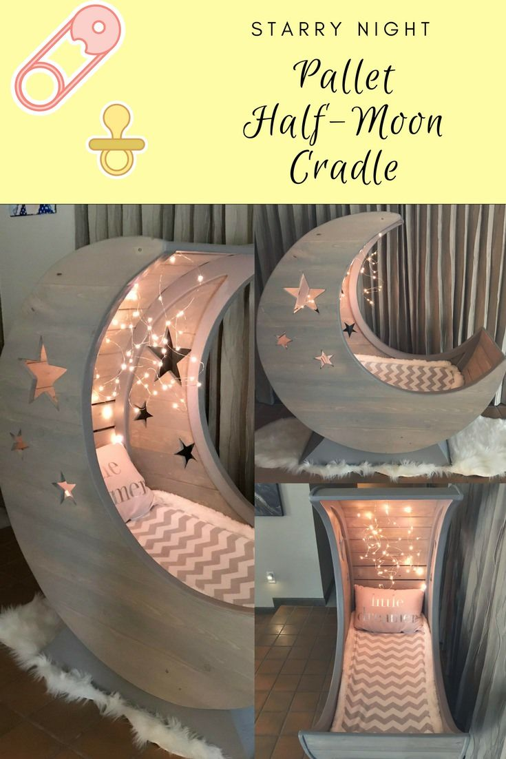 Starry Night Pallet Halfmoon Cradle! is part of Baby room - I made a Pallet HalfMoon Cradle from pictures I found on 1001pallets  It has an MDF frame and soft lighting inside  I carved star shapes on the outside, too! The cradle sits on a sturdy wooden pedestal base