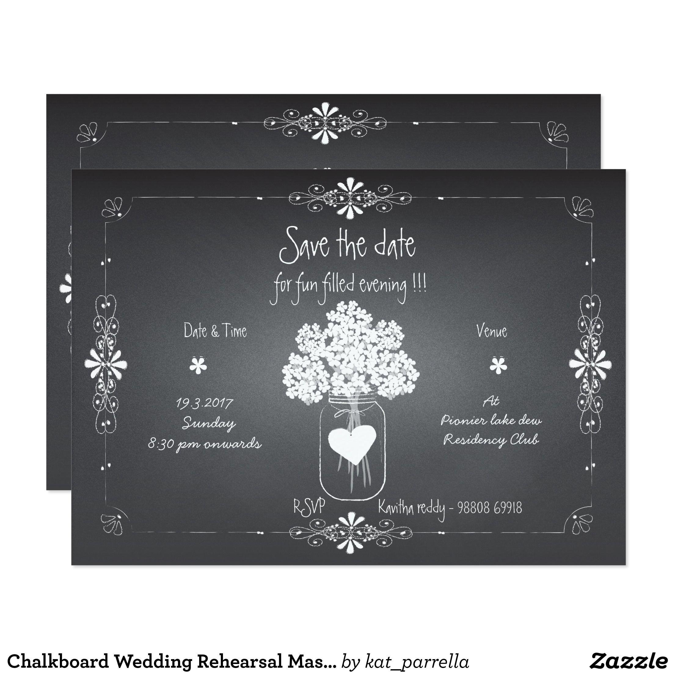 Chalkboard wedding rehearsal mason jar invitation chalkboards