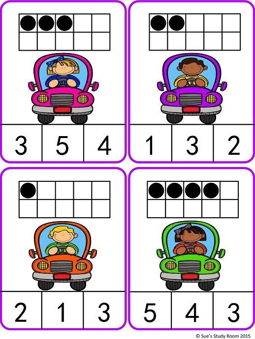 Count and Clip Cards: Kids in Cars (Numbers 1-20) | Count, Math and ...