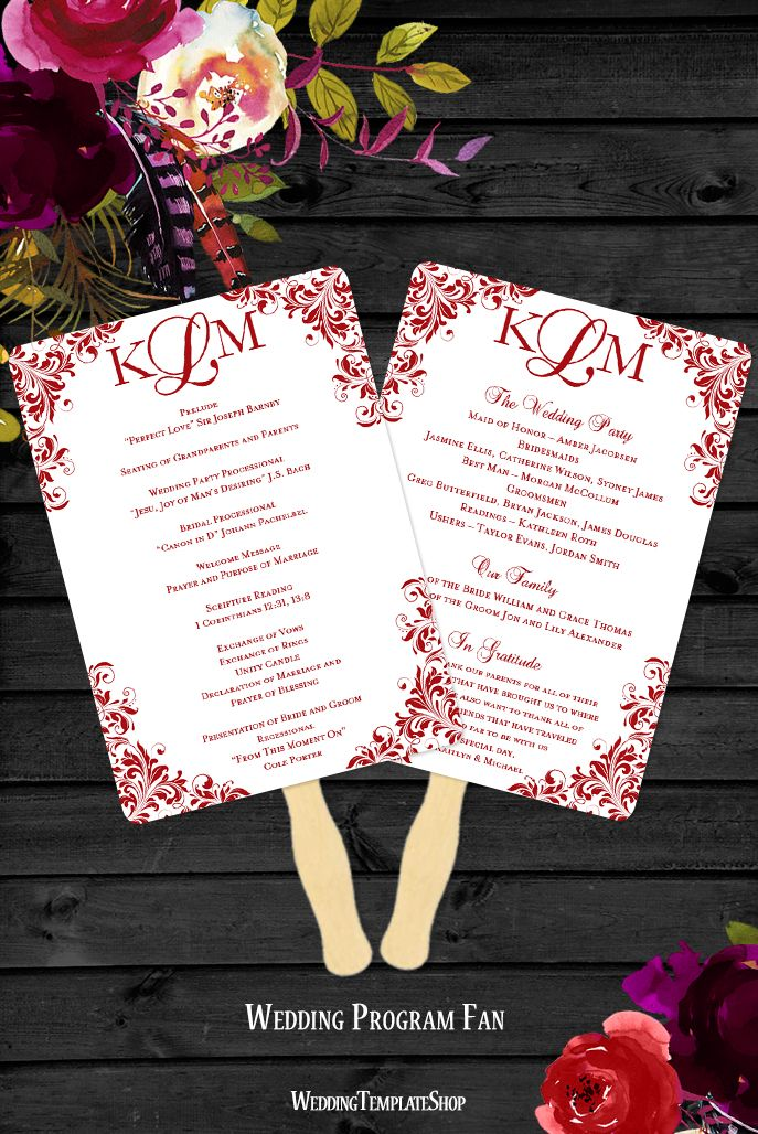 Wedding Program Fan Diy Templates Red You Edit Print