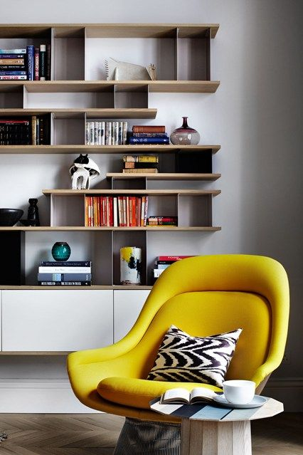 Designer Suzy Hoodless has created bespoke shelving based on mid-century designs by Charlotte Perriand.