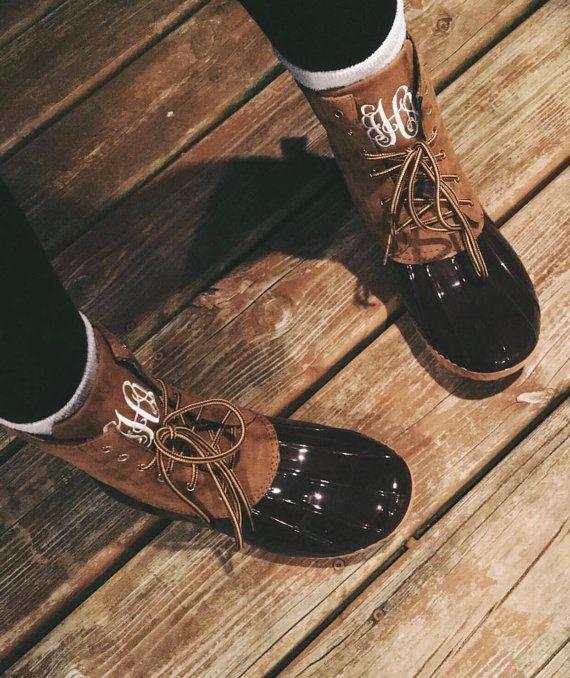 4d7e47c595b7a Monogrammed Duck Boots, Fall Boots | Wish list | Monogrammed duck ...