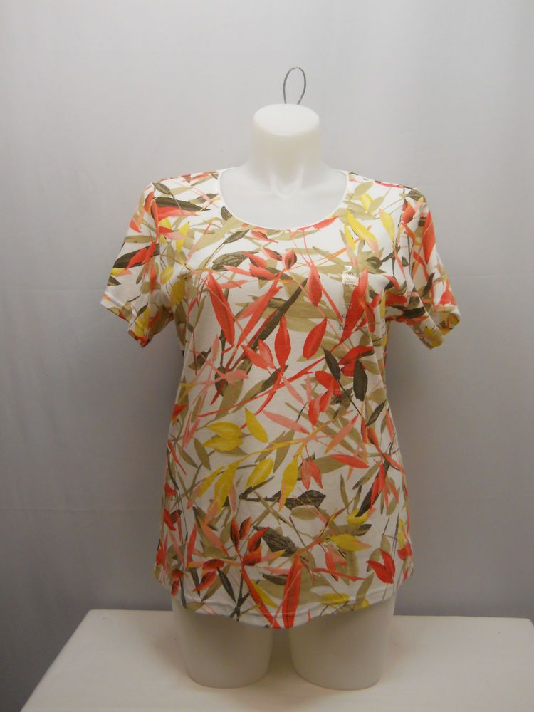 PLUS SIZE 0X Womens Knit Top KAREN SCOTT Multi Color Short Sleeves Scoop Neck #KarenScott #KnitTop #Casual