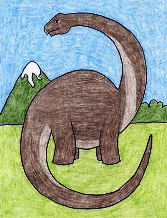 Draw A Diplodocus Art Projects For Kids Dinosaur Art Projects Art Drawings For Kids Drawing Images For Kids