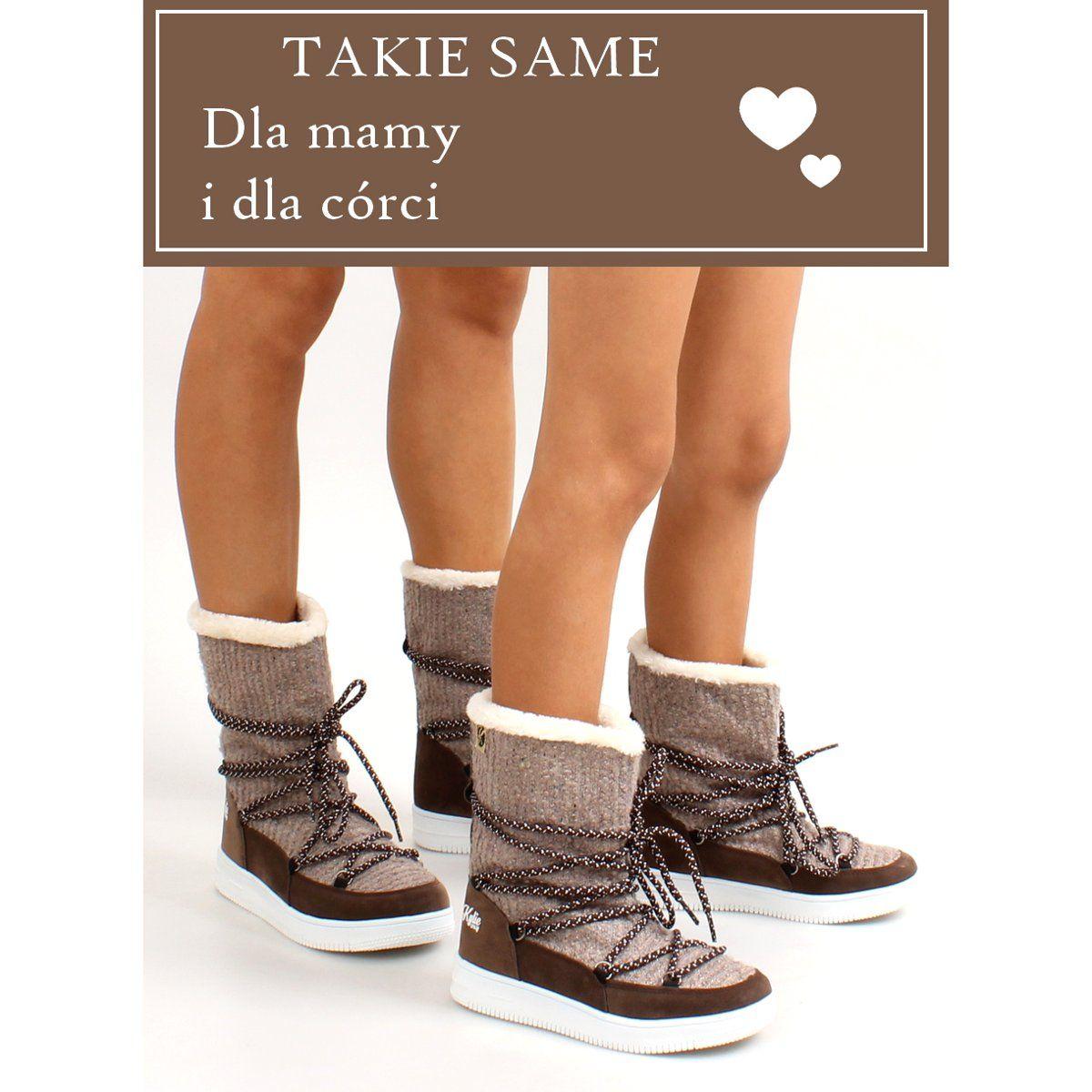 Kozaczki Dla Dzieci Obuwiedamskie Brazowe Dzieciece Sniegowce Eskimoski K1646102 Taup Obuwie Damskie Top Sneakers Sneakers Boots