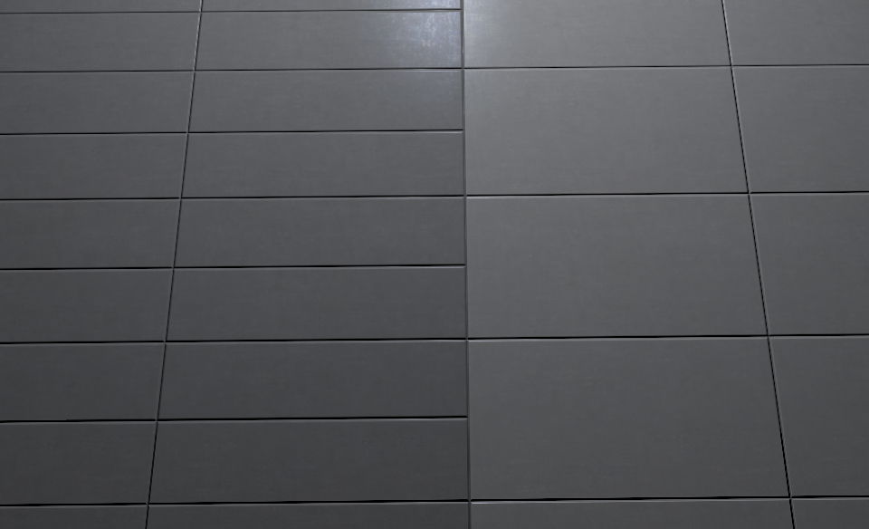 This Is What The Wall With The Mirrors Should Look Like Two Diff Sizes Of Tiles Black Grout Black Tiles Grey Tiles