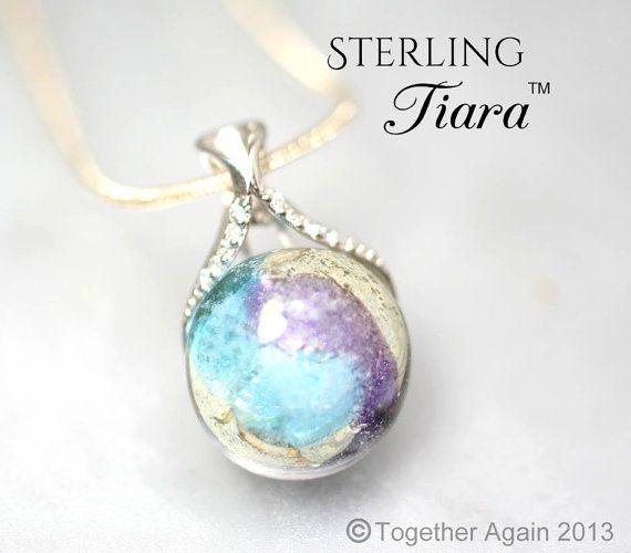 Sterling Tiara Cremation Jewelry Handmade Memory Glass