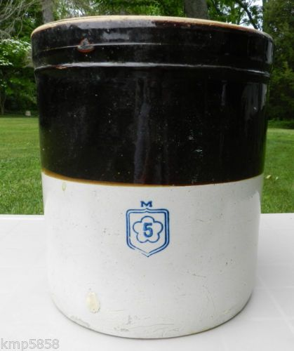 McCoy 5 Gal Stoneware Crock Salt Glaze Brown Cream Butter Churn Pottery Dairy