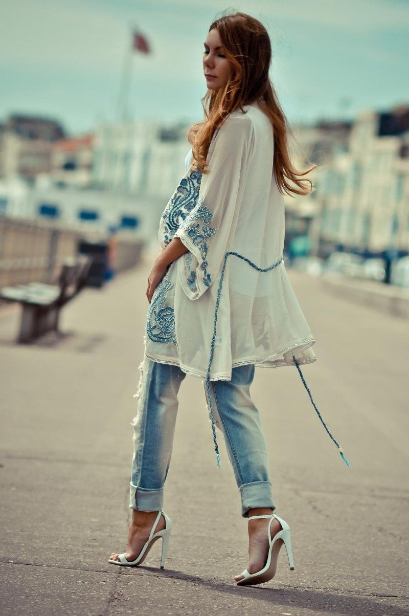 Simona Mar: Beaded Kimono ♥ Blue & White