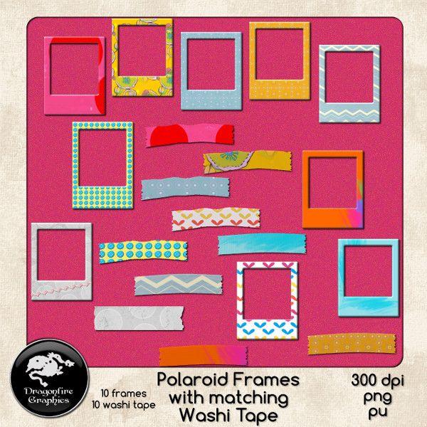 Polaroid Frames And Matching Washi Tape Set Of 20 0 00