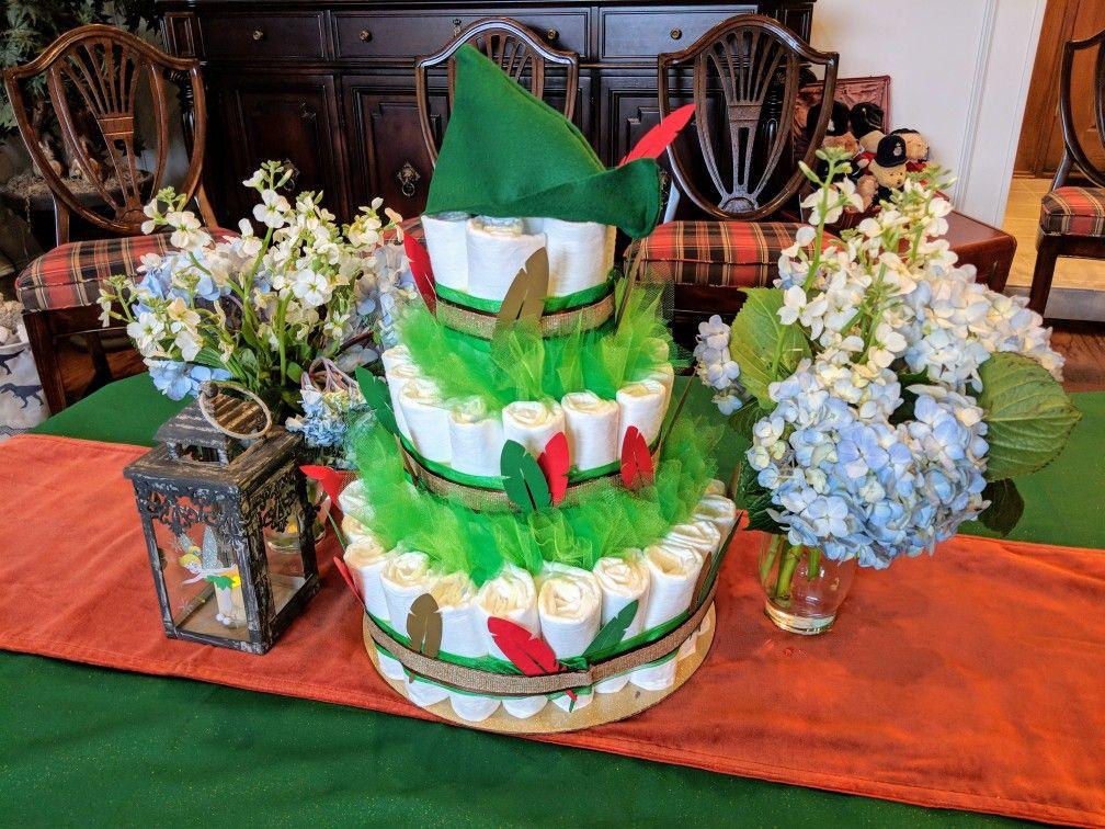 Peter Pan Diaper Cake Summer Baby Shower Boy Baby Shower Themes Disney Baby Shower