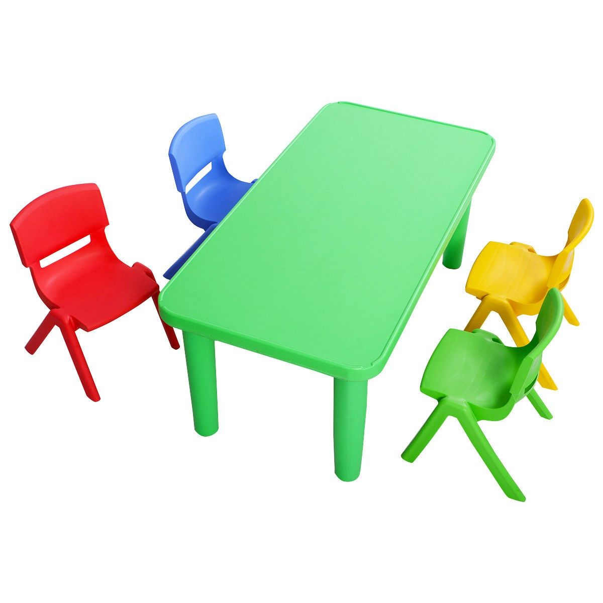 Kids Colorful Plastic Table And 4 Chairs Set Plastic Tables