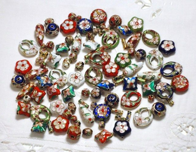 'BMGM 96 Cloisonne Beads in Many Colors and Shapes' is going up for auction at  4pm Tue, Sep 11 with a starting bid of $10.