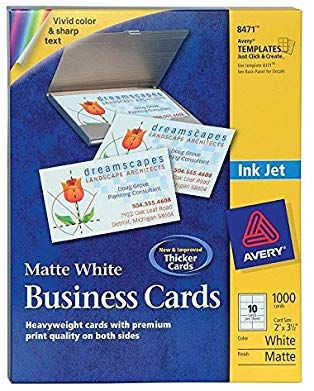 Avery 8471 Business Cards Inkjet Matte 2 Inch X3 1 2 Inch 1000 Bx White Review Inkjet Cards Business Cards