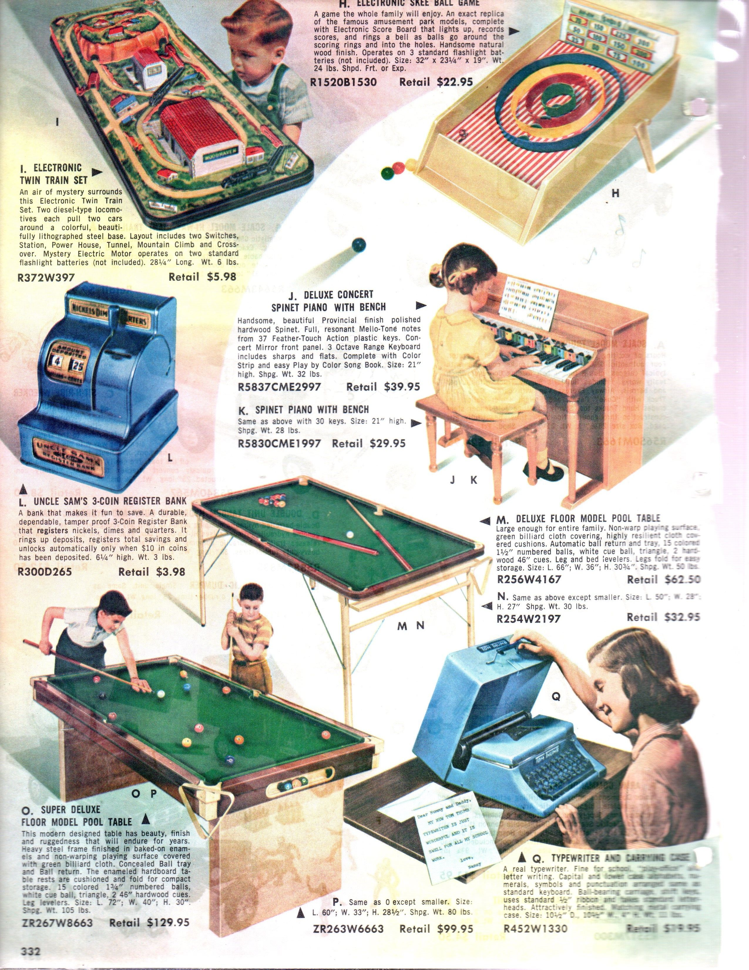Toy S For The Game Room 1957 Toy Catalogs Skee Ball Train Set